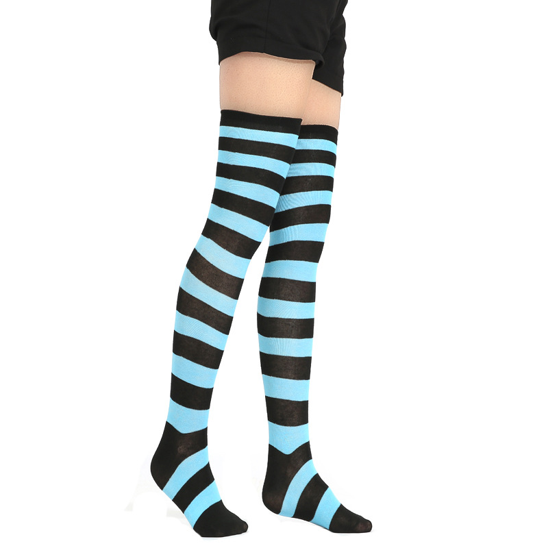 Girls Stripe New Socks Fashion Stockings Casual Thigh High Over Knee Acrylic Colour Comic High Socks Female Long Knee Sock 001