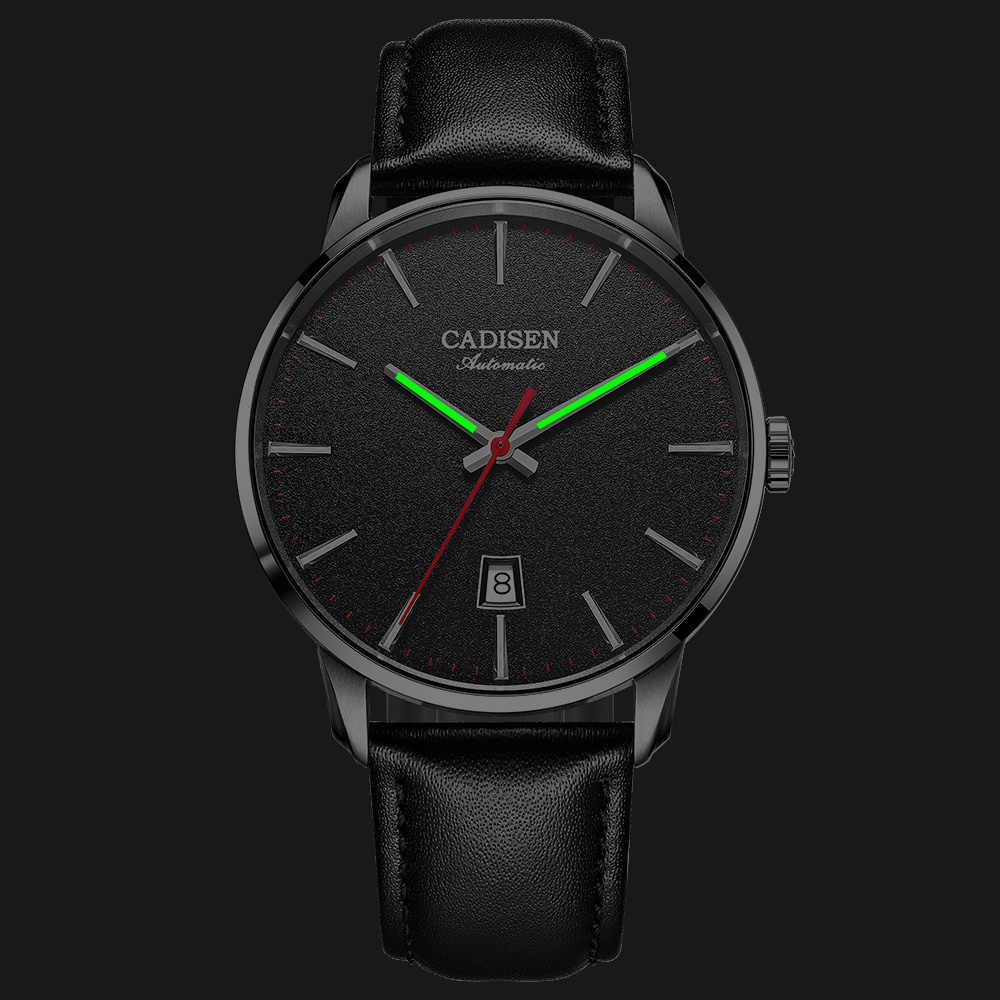ساعة يد ميكانيكية من CADISEN للرجال من أفضل العلامات التجارية الفاخرة مضيئة من الجلد الياقوت رجال الأعمال ساعات معصم أوتوماتيكية NH35A حركة يابانية