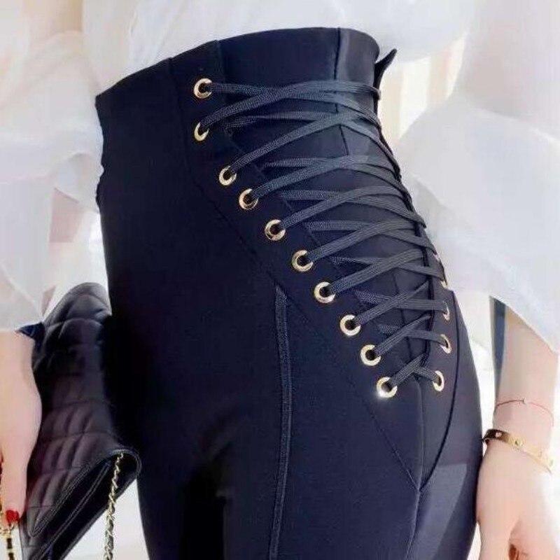 Haut printemps nouveau à lacets conception taille haute femmes crayon pantalon pantalons pantalons Mujer femmes Calcas Femininas