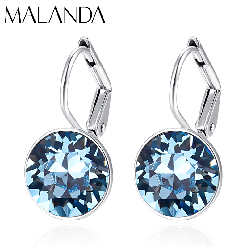 Crystals From Swarovski Small Bella Stud Earrings For Women New Fashion Sliver Color Round Earrings Wedding Jewelry Girl Gift