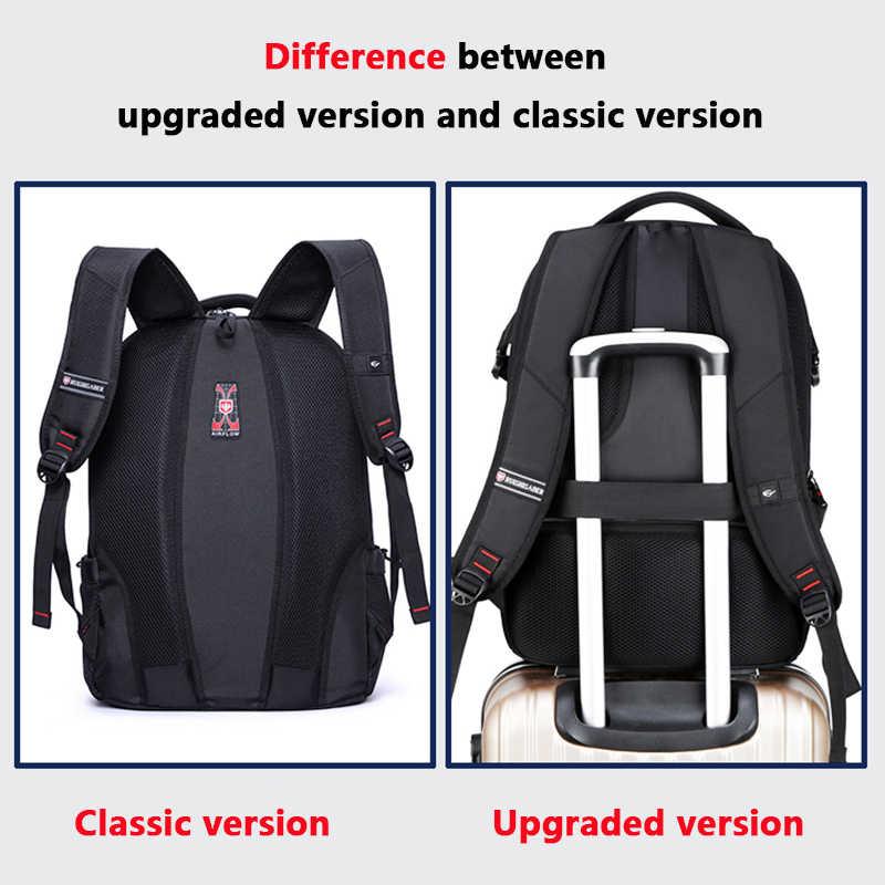 Marka szwajcarski 17 cal plecak na laptopa mężczyźni z ładowaniem USB podróżny plecak nylonowy tornister wodoodporne plecaki kobiety plecak Mochila