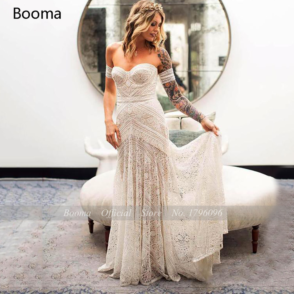 Simple Boho Mermaid Lace Wedding Dresses Ivory Off the Shoulder Trumpet Bohemian Bridal Gowns Long Beach Bride Dresses