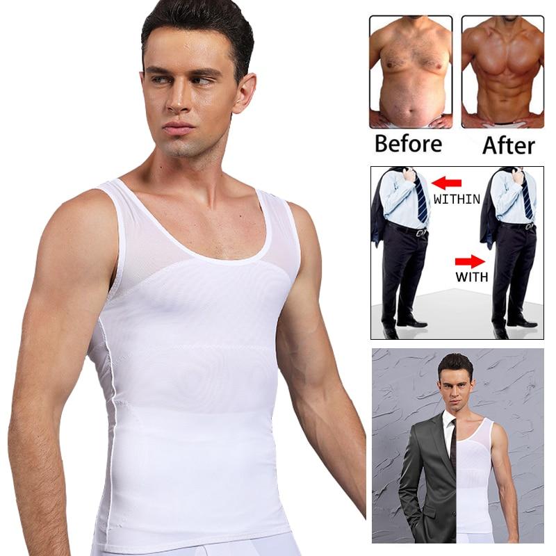 Men/'s Slimming Body Shaper Vest Moobs Chest Compression Shirt Tank Top Underwear