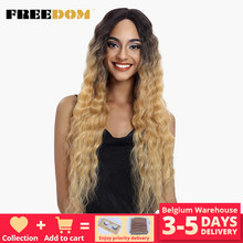 FREEDOM-Peluca de cabello sintético para mujer afroamericana, cabellera artificial ondulado de 30 pulgadas con raíces oscuras, Rubio, marrón oscuro largo, Ombre, resistente al calor