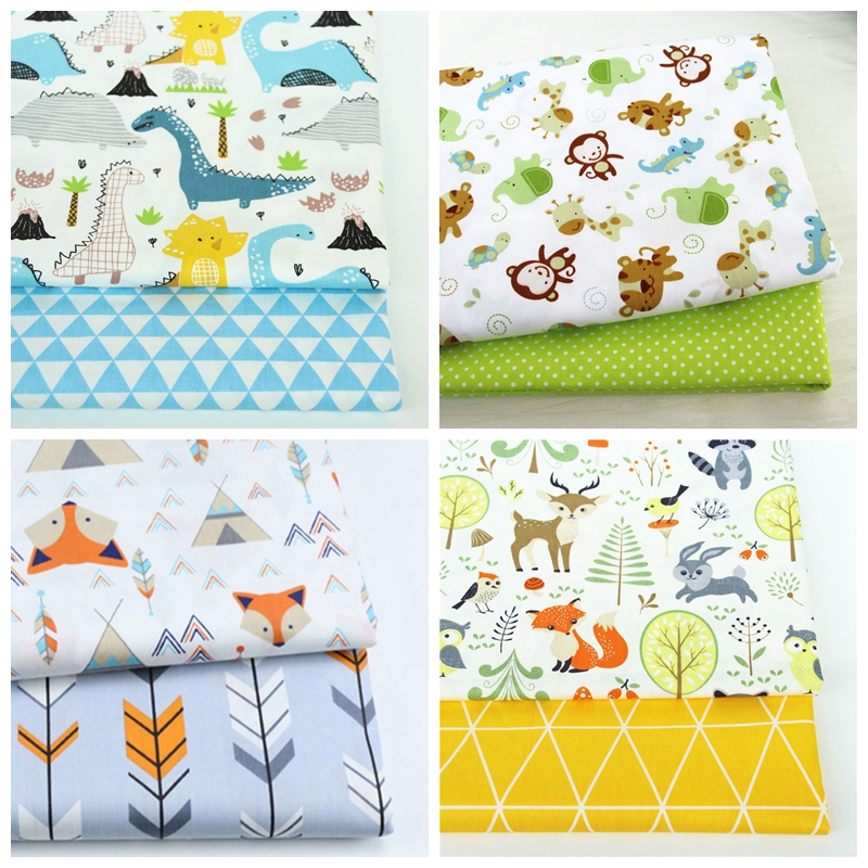 2PCS Dinosaurs, Fox Animals Cotton Twill Printed Fabric For Baby Patchwork Sewing Quilting Fat Quarters  Child DIY Fabric Bundle