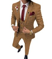 Mens Summer Suit 3 Pieces Mens Brown Suits Plaid Slim Fit Wedding Suits Groom Tweed Wool Tuxedos for Wedding (Coat+Pants+Vest)