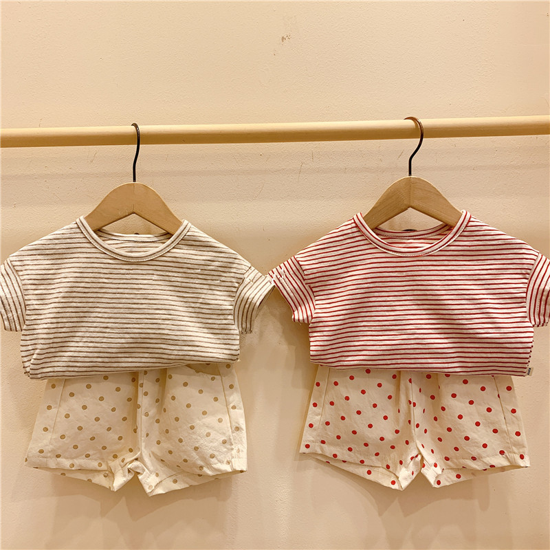 Infant Clothing Baby Boys Girls Striped T Shirt Short Sleeve Tops And Dot Shorts Baby Summer Cotton Clothes Set