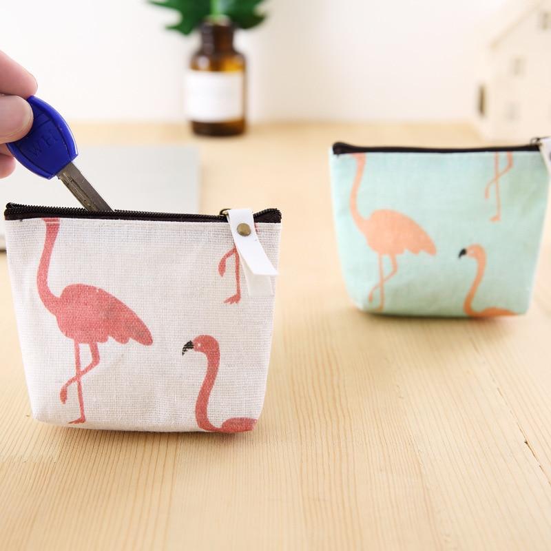Lottery South Korea Hipster Red Crane Purse Simple Cute Canvas Fabric Mini Purse Cartoon Coin Bag