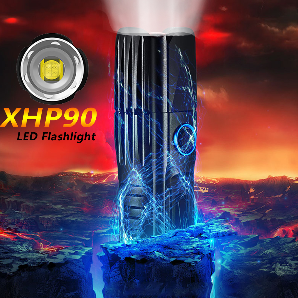 Xlamp XHP90.2 Super Bright Flashlight XHP70.2 Tactical Flash Light XHP50 USB Zoom Torch Hunting Use 26650 Camping Hunting