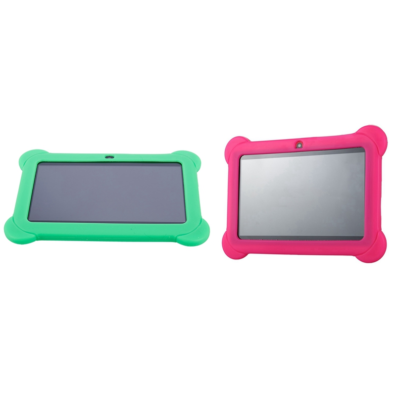 2 Pcs 4GB Android 4.4 Wi-Fi Tablet PC Beautiful 7 Inch Five-Point MultiTouch-Display - Special Kids Edition, Pink & Green