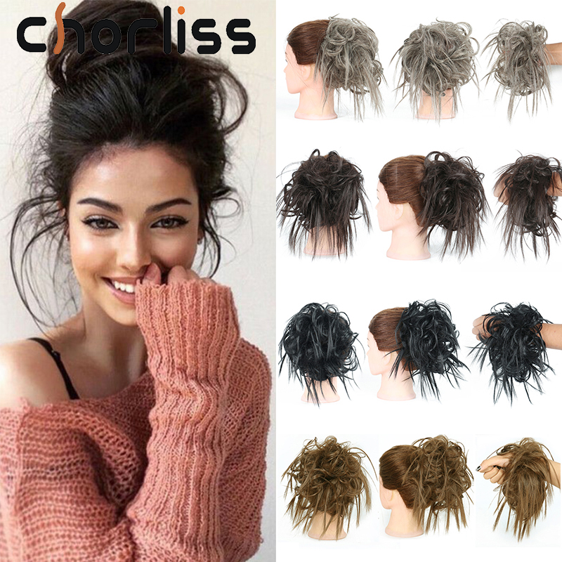 Chorliss Synthetic Messy Chignon Bun Hairpiece Elastic Band Chignon Hair Curly Scrunchie Cover Synthetic Hairpiece For Women