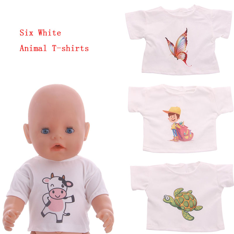 Animal And Unicorn White T-shirt 100.0% Positive Store For 18 Inch American Doll And 43cm Baby Doll Clothes, Generation, Gift