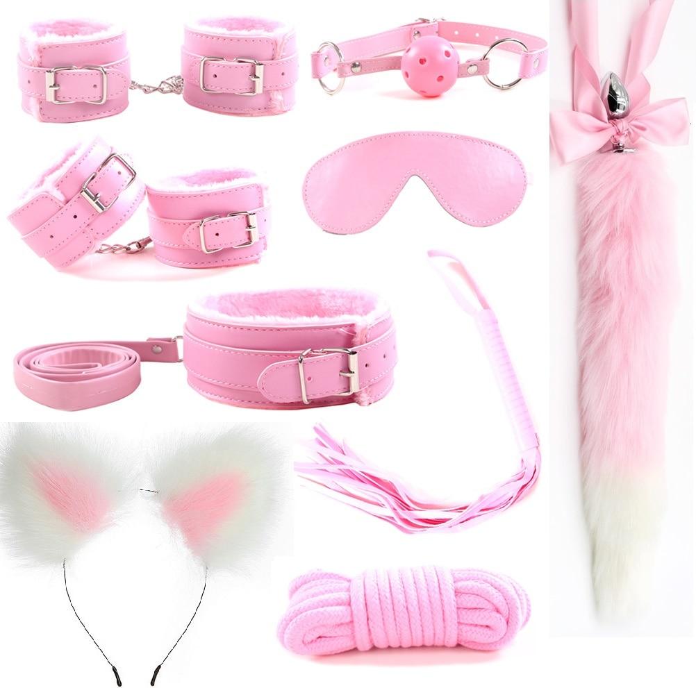 9Pcs Metal Fox Tail Butt Anal Plug Ear Headband Handcuffs Whip bdsm Bondage Set Erotic Sex Toys Products For Adult Woman Men