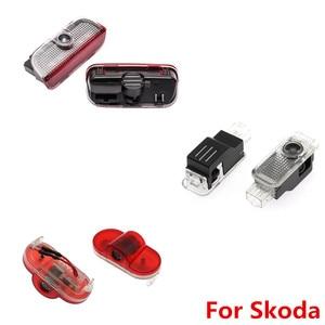 Image 1 - 2PCS 자동차 LED 문 로고 레이저 프로젝터 유령 그림자 환영 빛 Skoda Octavia A5 2005 2011 2012 2013 Superb Febia Roomster