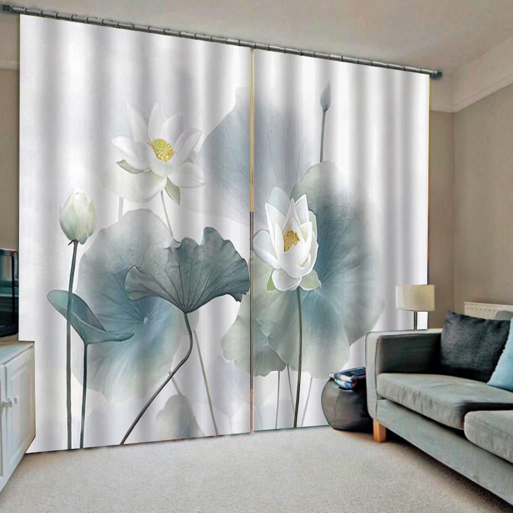 Прозрачный и простой китайский стиль листьев лотоса занавес для гостиной спальни на заказ любого размера - 2