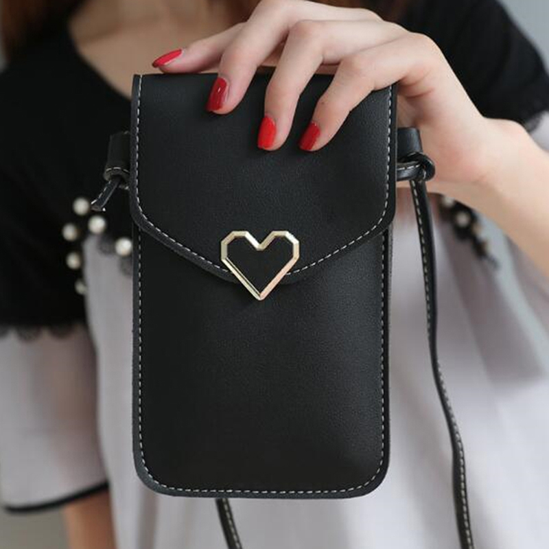 Women Bag For Phone Transparent Women Coin Purse Cross Shoulder Bag Girls Cute Phone Bag Mini Heart Type Hasp Mobile Pouch