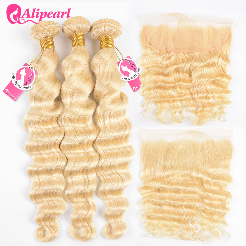 AliPearl Loose Deep 613 Bundles With Frontal Pre Plucked Platinum Blonde Brazilian Hair Weave 3 Bundles With Frontal Remy Hair image