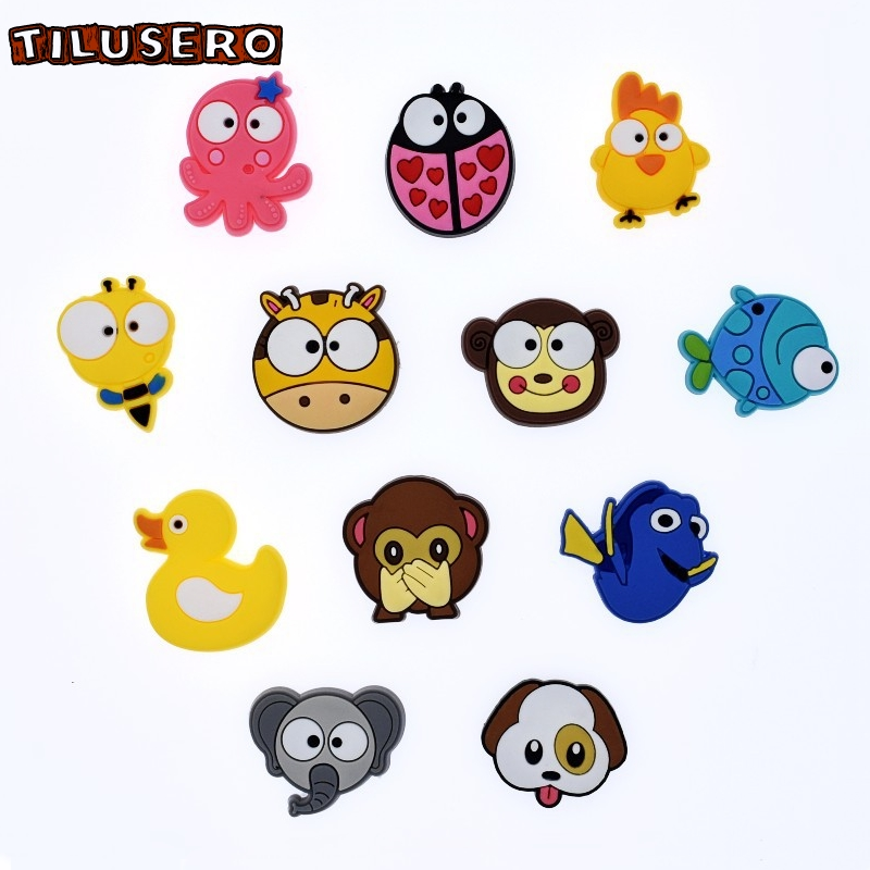 1pcs Shoe Accessories Cartoon Animals Shoe Charms Shoe Decoration Buckles For Croc JIBZ/Wristbands Kids Party Xmas Gift Z058