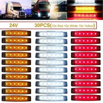 цена на 24V 10/30 Pcs LED Truck Trailer Lorry Indicator Side Marker Waterproof Light With E-Marke Strobe Lamp
