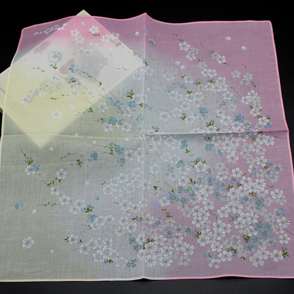 2 Pack Ladies Womens Cotton Handkerchief Flower Pattern Floral Printed Hankies