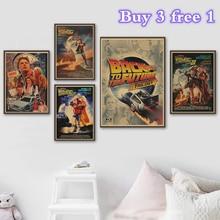 Película clásica Back To The Future Vintage Posters Bar kraft papel alta calidad póster pegatina de pared