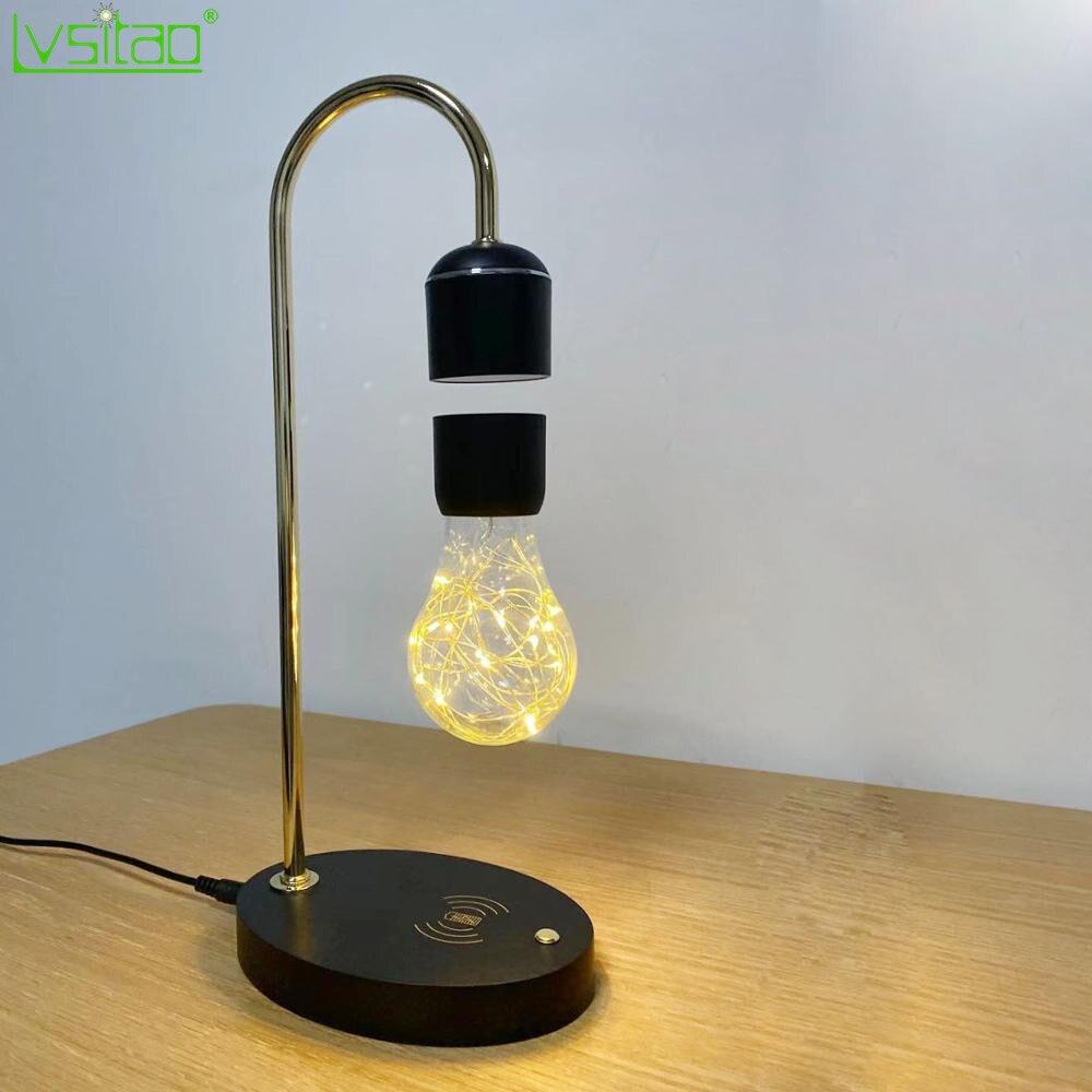 Плавающая лампа черный левитирующий светильник Светодиодная магнитная плавающая настольная лампа Новинка подарки беспроводной зарядной
