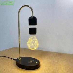 Lampa pływająca czarna lewitująca żarówka Led magnetyczna pływająca lampa biurkowa nowości na prezent bezprzewodowy stół do ładowania Led Home Decor