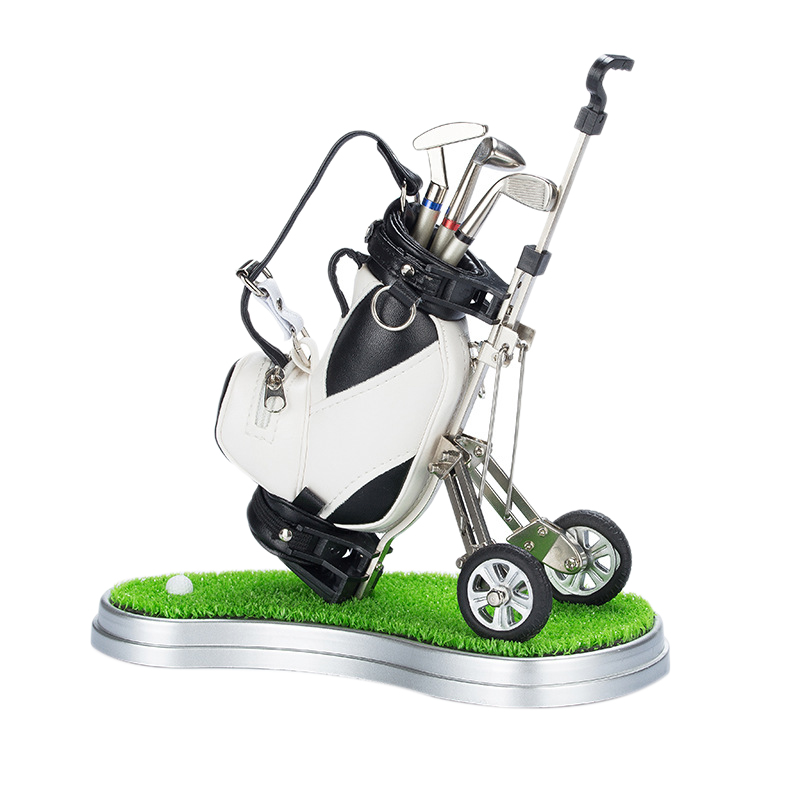 Golf Pens With Golf Bag Holder,Novelty Gifts With 3 Pieces Aluminum Pen Office Desk Golf Bag Pencil Holder