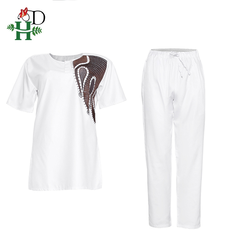 Image 3 - H&D African Couples Clothing Dashiki Shirt Pants Women 2 pieces Suit Men Agbada T shirt Traditional Embroidery Robe AfricaineAfrica Clothing   -