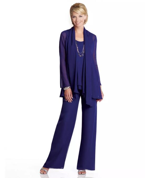 Lady Mother Pants Suit Party Trousers Suits Women Formal Evening gown Chiffon Mother Of The Groom Bride dresses with jacket