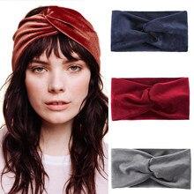 Haimeikang fascia per donna tinta unita ampio turbante torsione in cotone lavorato a maglia fascia per capelli accessori per capelli copricapo annodato intrecciato