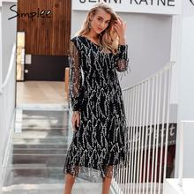 Simplee Sexy V hals Avond Party Dress Mesh Lange Mouwen Sequin Vrouwen Nacht Maxi Jurk Lady Lente Oversized Losse Zomer Jurk