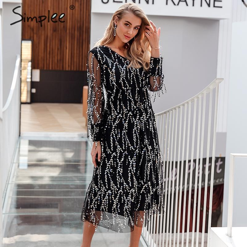 Simplee Sexy v-neck evening party dress Mesh long sleeve sequin women night maxi dress Lady spring oversize loose summer dress