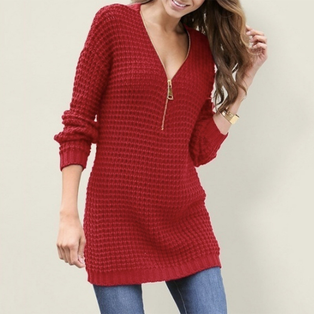winter clothes women Autumn Women's V-neck Casual Solid Color Long Sleeve Sweater кардиган женский 5