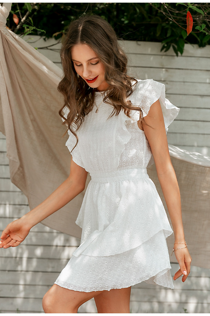 Elegant White Crew Neck Ruffle High Waist Sleeveless Lace Boho Dress