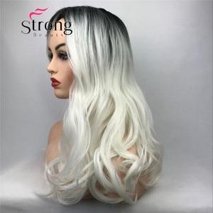 Image 4 - StrongBeauty largo Ombre blanco Rubio ondulado Peluca de pelo sintético para mujer