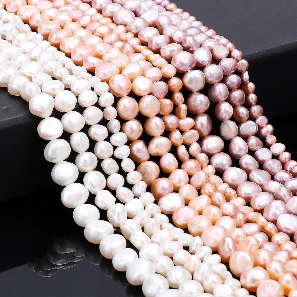 Bien, Rosa blanco 100% perla Natural de agua dulce de arroz perlas para joyería haciendo perla Irregular granos DIY pendientes pulsera collar