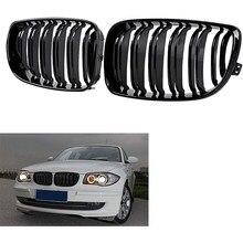 Глянцевая черная двойная планка Передняя почечная решетка гриль замена для BMW E81 E87 E82 E88 120I 128I 130I 135I выбран 2007-2011