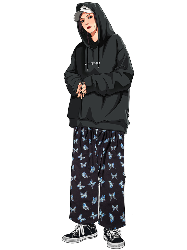 Harem Pants Men Trousers Streetwear Cotton Joggers Harajuku Print Hip-Hop Loose Butterfly