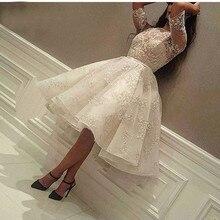 Fashion Ivory Short Prom Dress Lace Applique Beads Half Slee