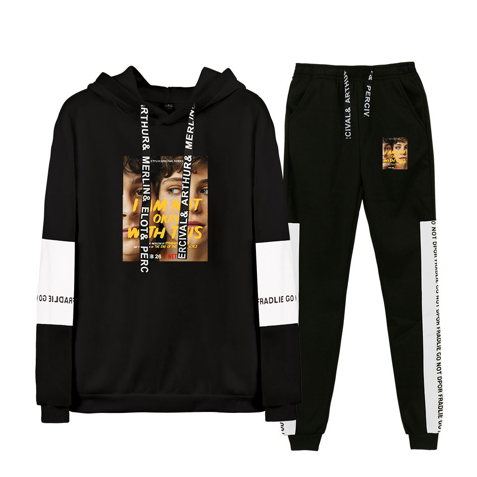 Autumn/Winter I AM NOT OK WITH THIS Hoodies Sweatshirts And Sweatpants Hot Two Piece Set Hooded Suit Velvet Plus Size For Men