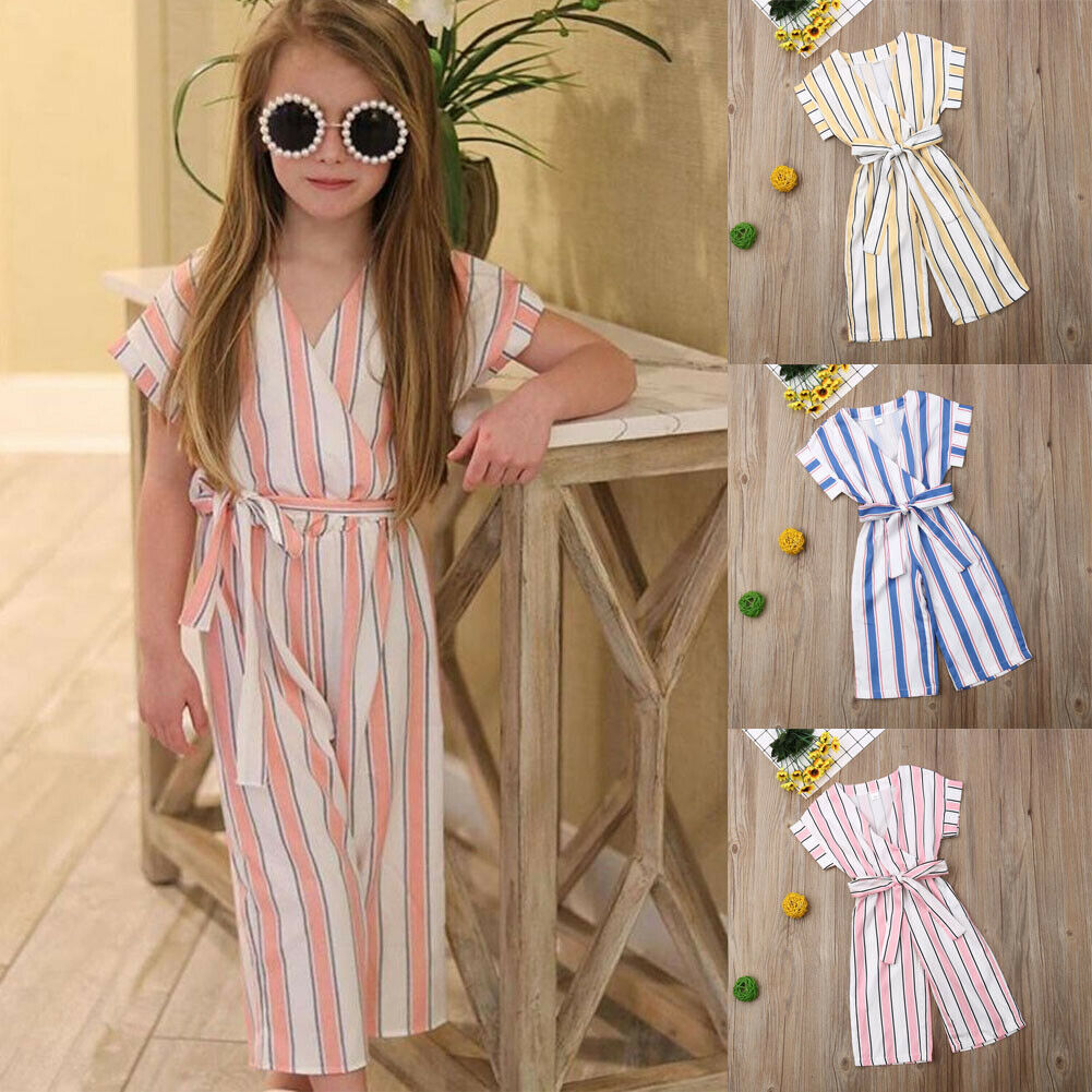 Emmababy Summer Toddler Baby Girl Clothes Sleeveless Striped Belt Romper Jumpsuit Summer Outfit Sunsuit Casual Clothes