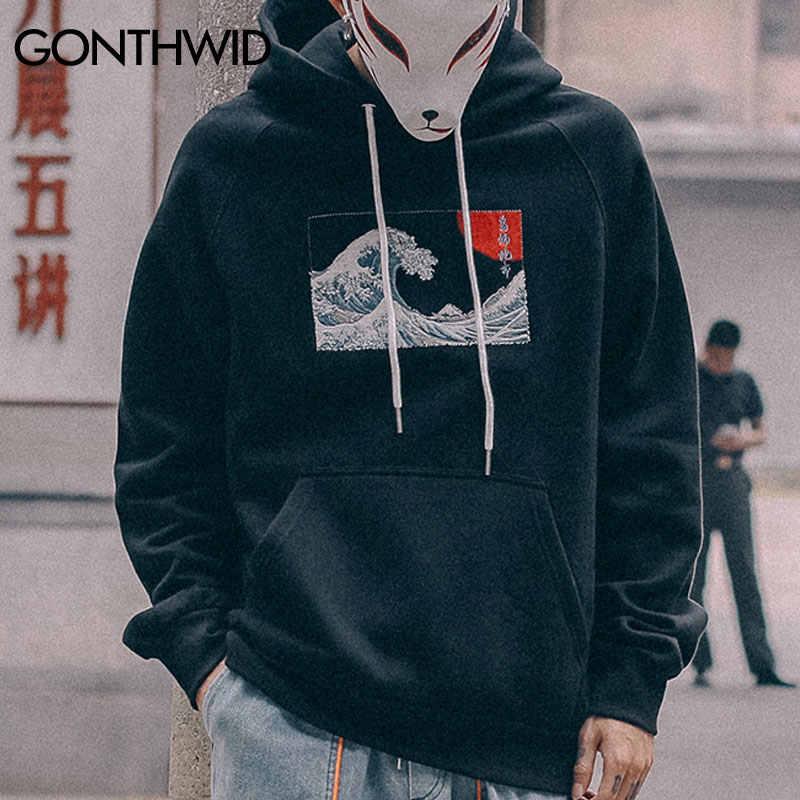 GONTHWID Bestickt Japanischen Ukiyo-e Kanagawa Surfen Dünne Hoodies Sweatshirts 2019 Harajuku Hip Hop Casual Pullover Hoodie Top