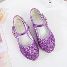 ULKNN Girls Purple High Heels For Kids Princess RED Leather Shoe Footwear Children's Party Wedding Shoes Round Toe 1-3CM