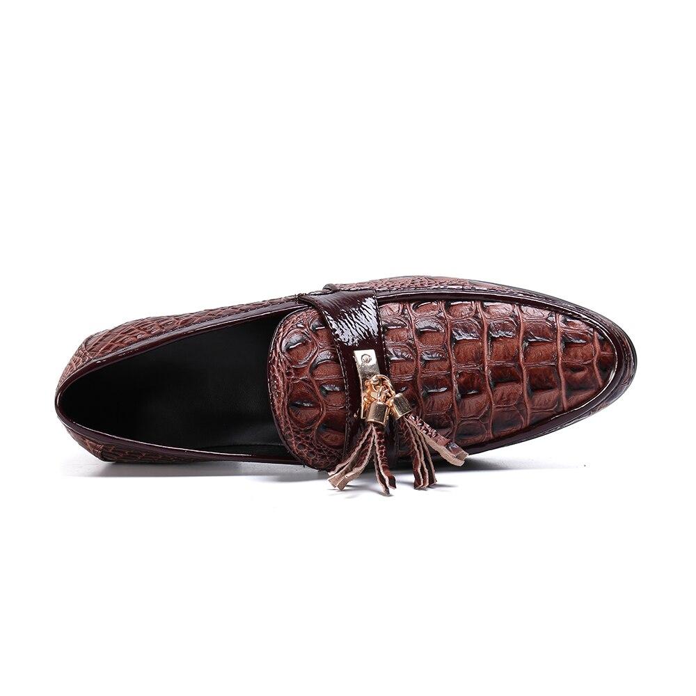Zapatos casuales para hombre moda marrón borla hombres mocasines marca de lujo hombres zapatos de negocios Slip On zapatos de boda - 6