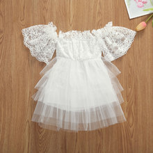 2020 Fashion Cute Infant Baby Dress Girl Ruffled Sleeve Lace A-Line Tiered Tutu Tulle Flower Party Formal Princess Mini Dress frilled sleeve brush stroke grid tiered dress