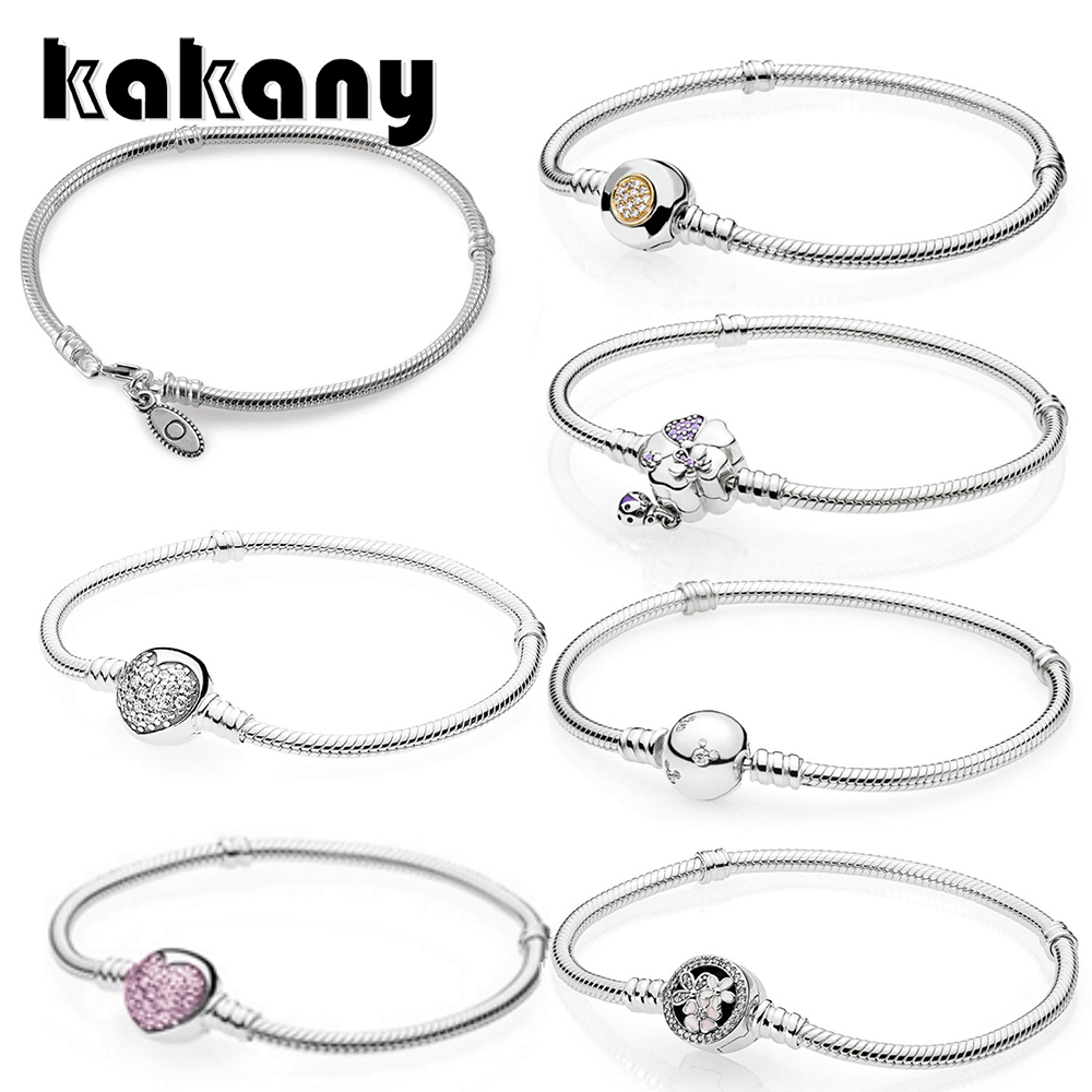KAKANY 100% 925 Sterling Silver Genuine MOMENTS Bracelet SPARKLING HEART CLASP POETIC BLOOMS WILDFLOWER MEADOW Temperament