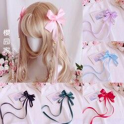 Coração adolescente grande bowknot longo fita sino headdress doce bonito macio irmã lolita clipe de cabelo lado handwork acessórios para o cabelo