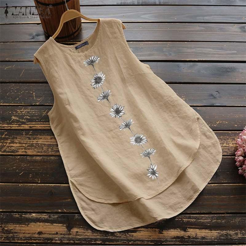 ZANZEA Vintage Summer Women Sleeveless Blouse Floral Printed Tanks Tops Casual Cotton Linen Shirt Blusas Female Loose Vests Robe