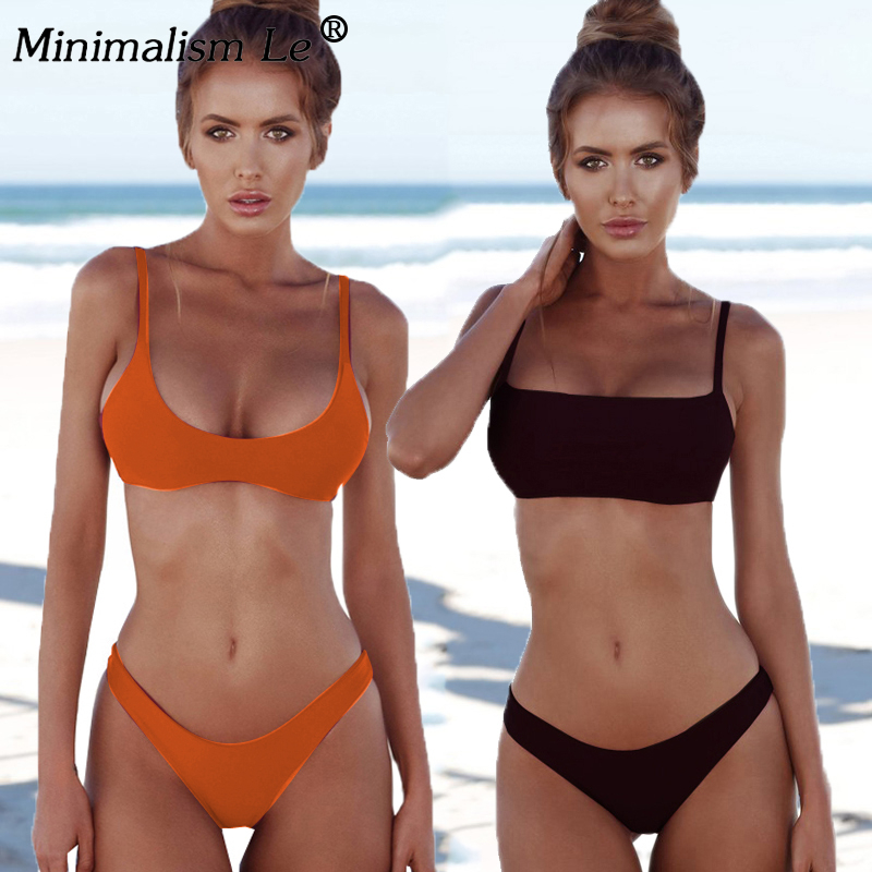 Woman Solid Sexy Bikini Set Micro Summer Tube Top Swimwear Low Waist Bikinis Beach Wear Female Retro Swimsuit Bathing Suit